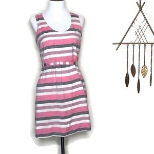 Ann Taylor LOFT Pink White Gray Striped Dress 0P